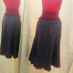 Tory Burch crochet garret plead maxi skirt